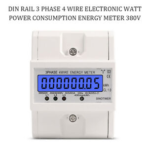 Electronic Energy Meter Din Rail 3 Phase 4 Wire Watt Power Consumption 380v Ac