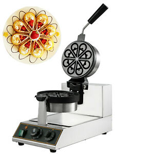 Commercial Rotating Ice Cream Waffle Maker Teflon Coating Dual Pans Electric