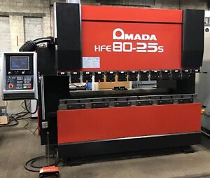 80 Ton X 8 Amada 8 axis Cnc Press Brake Cnc Control Hfe 80 25s With Tooling