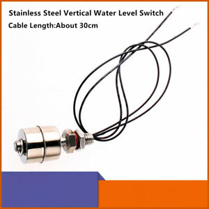 Float Switch Stainless Steel Tank Vertical Water Level Sensor 30cm Cable Length