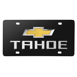 Chevrolet Tahoe Double 3d Logo Black Stainless Steel License Plate