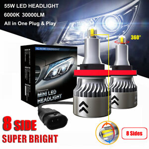 8 Side 110w 30000lm H8 H9 H11 360 Car Canbus Led Headlight Lamp Kit White 6000k