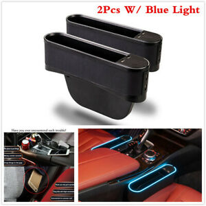 Car Seat Gap Storage Box Organizer Coin W 4 Usb blue Light For Left right Side