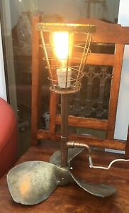 Vintage Brass Boat Propellor Nautical Lamp With Edison Bulb