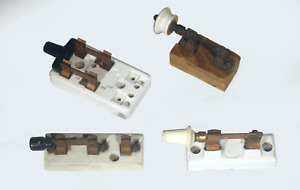 Vintage Knife Switch Lot Of 4 Porcelain Wood Steampunk Electric Sensory B e co