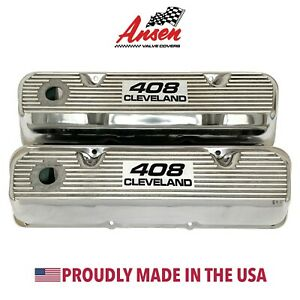 Ford 408 Cleveland Valve Covers Polished Die cast Aluminum Ansen Usa