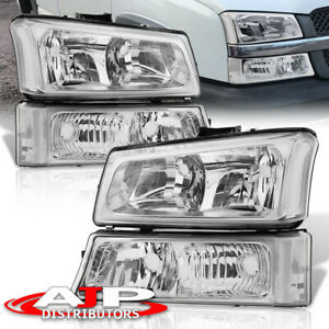 4pc Chrome Clear Headlights Signal Bumper Lamps For 2003 2006 Chevy Silverado