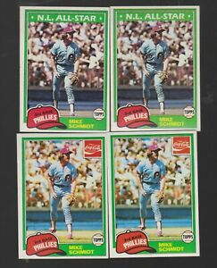 MIKE SCHMIDT 1981 TOPPS #540 & COCA-COLA #9 PHILLIES GREAT 4 CARD LOT ALL NM/MT