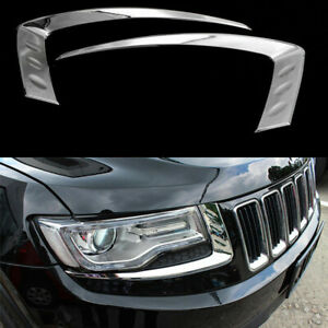 For Jeep Grand Cherokee 2014 2016 Chrome Front Head Light Lamp Eyelid Cover Trim