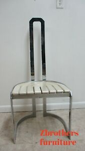 Vintage Design Institute Chrome High Back Dining Room Side Chair Mid Century C