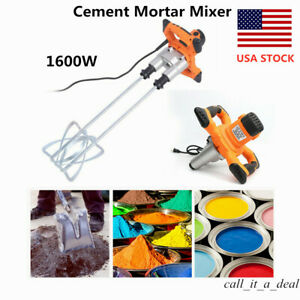 1600w Electric Concrete Cement Mortar Mixer Stirrer Grout Mud Mixing Mortar Usa