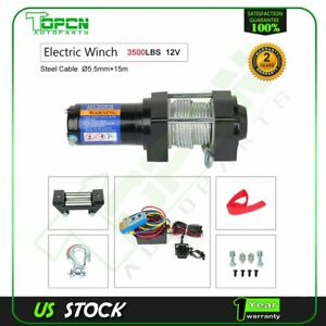 3500lbs Electric Winch 12v Steel Cable Truck Trailer Towing Off Road 4wd New