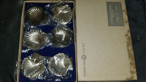 Rogers Bros Set Of 6 Scalloped Shell Silver Plated Small Butter Nut Dish Tray