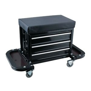 Mechanics Creeper Roller Seat Tool Box Chest Cabinet Storage Box With 3 Drawers
