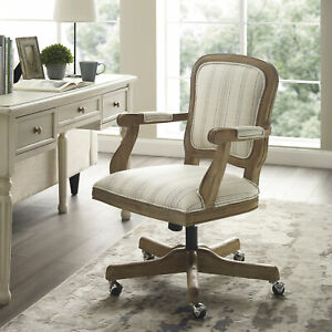 Linon Maybell Upholstered Office Chair Neutral Striped
