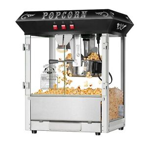 Black 8 Oz Hot Fresh Counter Top Bar Style Popcorn Popper Machine Table Top