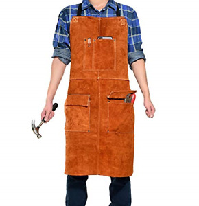 Leather Welding Work Apron Heat Resistant Flame Resistant Bib Apron Heavy Duty