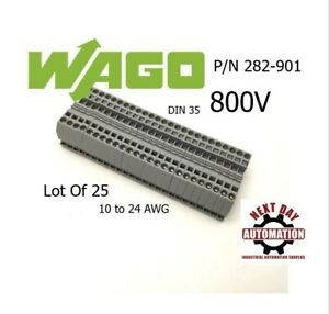 Lot Of 25 Wago 282 901 2 Conductor Passthrough Terminal Block 800v 24 10awg