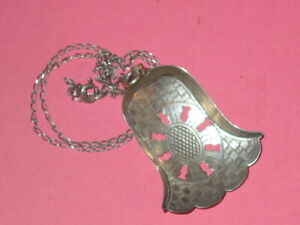 Antique Sterling Tea Strainer British Hand Engraved Matching Chain