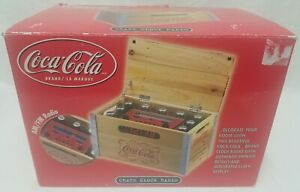 Coca Cola Wood Crate Box Digital Clock    Fm/Am Radio New