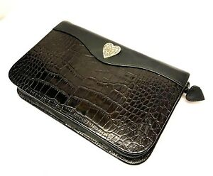 Brighton Vintage Black Croc Embossed Leather Zip Around Day Planner Organizer