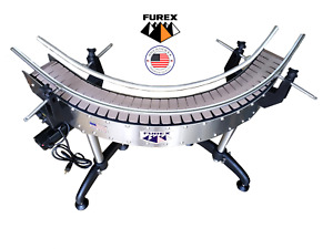 Furex Stainless Steel 4 5 90 Degrees L shape Curved Conveyor With Plastic Belt