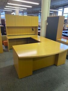 Executive U shape Desk By Geiger Office Furniture In Maple Color Wood