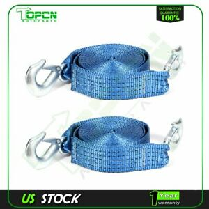 2 20ft 6t 13000bs Tow Strap W Hooks Winch Sling Off road Suv Auto Jeep 2pcs