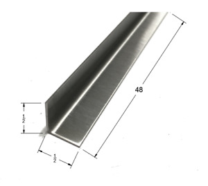 1 2x1 2x48 Stainless Steel Inside Corner Guards 90 Degree Angles 20ga 5 Pack