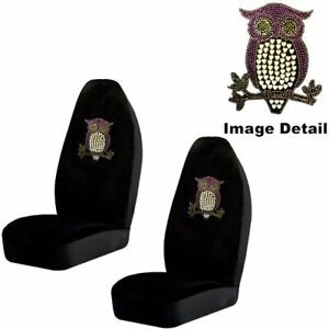 Purple Owl W Hearts Crystal Studded Rhinestone Seat Covers Pair