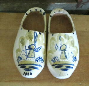 Antique Carved Wood Wooden Childs Size Dutch Shoes In Old Blue White Paint Aafa