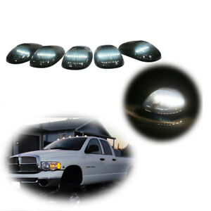 5pcs Smoked Cab Roof Marker Lights White 6k For 2003 2016 Dodge Ram 2500 3500