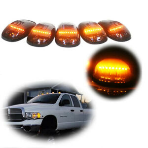 5pcs Cab Marker Roof Lights Smoke Amber Led For 2003 2016 Dodge Ram 2500 3500