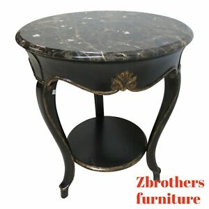 Theodore Alexander Black Ebonized Marble Top French Regency Lamp End Table