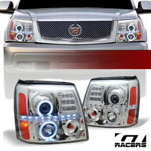 For 2002 2006 Cadillac Escalade Chrome Housing Led Halo Projector Headlights Amb