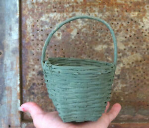 Tiny Woven Wood Gathering Basket Child S Size Dry Green Paint