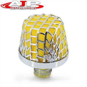 12mm Air Intake Breather Filter Yellow Oil Catch Crankcase Universal Vent Valve