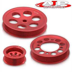 Lightweight Race Crank Pulley Set Red For 1993 1998 Toyota Supra 2jzgte Turbo