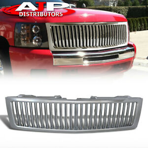 Chrome Vertical Bumper Hood Grille Grill Set For 2007 2013 Chevy Silverado 1500