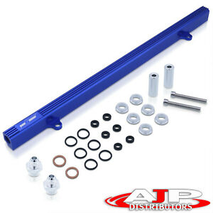 Billet Top Feed Injector Fuel Rail Turbo Kit Blue For Skyline 240sx Rb25 Rb25det