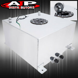 Upgrade 50 Liters 13 Gallon Chrome Aluminum Fuel Cell Tank W Black Cap