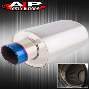 4 Burn Oval Tip Stainless 3 Inlet Weld On Chrome Exhaust Muffler Track Drag