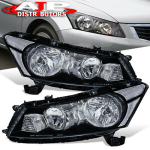 Black Clear Reflector Headlights Headlamps Lh Rh For 2008 2012 Honda Accord 4dr