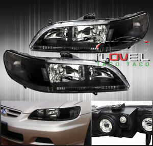 Black Clear Replacement Headlights Lamps Lh Rh Pair For 1998 2002 Honda Accord