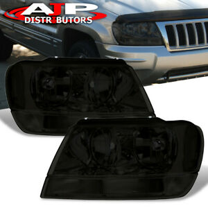 Smoked Lens Replacement Head Lights Lamps Pair For 1999 2004 Jeep Grand Cherokee