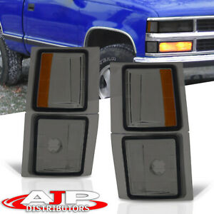 Smoke Amber Side Corner Marker Lights Pair Lh Rh 4pcs For 1994 1998 Chevy C10 Ck