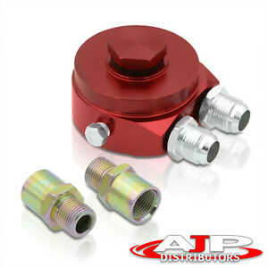 Relocator Sandwich Oil Adapter Filter Cooler Plate 10an Fitting Red For Toyota