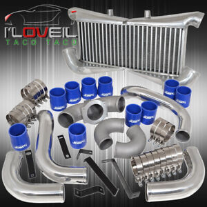 Twin Turbo Intercooler Polish Piping Kit Blue Couplers For 90 96 300zx Z32