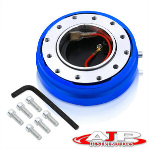 Blue 6 Hole Short Hub Quick Steering Wheel Release Adapter 1 5 Thin For Honda