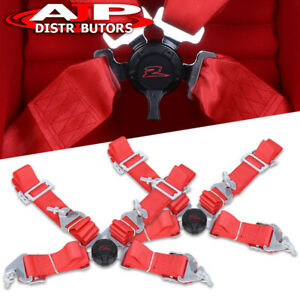 Pair Of 2 Shoulder Strap 4 Point Camlock Harness Red Nylon Racing Seat Belts